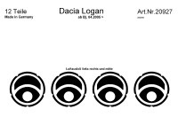 Decor interiéru Dacia Logan -- od roku výroby 4/2005- umístění výdechy ventilátoru - 12 dílů (RC 20927)